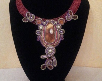 "Necklace made from crochet wire with Soutache element, amber inlaid pearls ""Amber Dreams"""