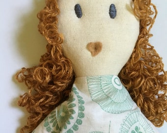 "Sarah, 18"" fabric doll with curly hair, dark grey eyes, blond rag doll, cloth doll, green and white floral pattern dress"