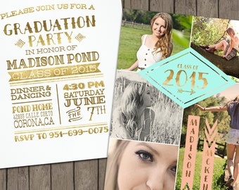 2016 Tribal Senior Graduation Announcement &  Graduation Party Invitation for Girls.Customized for you! Gold, Peach, Mint, Teal ,Coral.
