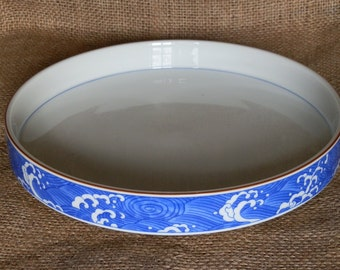Vintage Blue and White Shallow Serving Bowl with Brown Rim