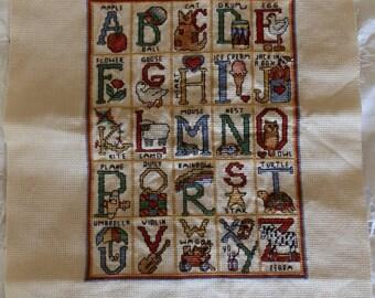 Vintage Needlepoint Alphabet Sampler