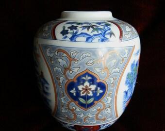 Vintage Blue Floral Porcelain Tozan Ginger Jar