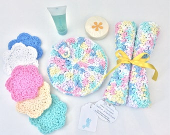 Pastel Rainbow Bath Set Cotton Baby Spa Gift Handmade Washcloths Face Scrubby Deluxe Soap Pouch Baby Shower Gift for Her Cotton Wash Cloths