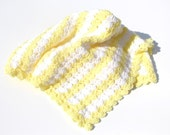 Yellow Baby Blanket, Striped Crochet Baby Blanket, Crochet Baby Blankets, Ready to Ship, Car Seat Blanket, Stroller Blanket, Photo Prop