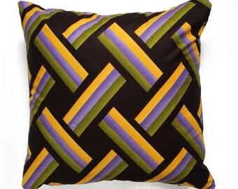 Cushion Ethno Print, black, yellow, Cushion cover, Cotton, Africa, 45 x 45 cm