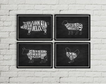 Kitchen decor, Kitchen wall decor, Kitchen wall art, Butcher print, Butcher diagram, Butcher chart, Meat cuts, Chalkboard wall art, Digital