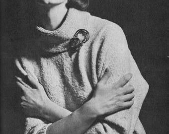 Vintage 1963 Knitting Pattern - Ladies High Neck Sweater - (3 Sizes) 32-38 inch bust - digital download