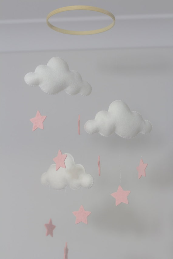 White And Pale Pink Stars Merino Felt Cloud Mobile With