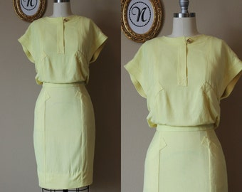 Vintage 1960s ~ 60s Yellow Chanel Linen Wiggle