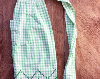 Vintage Apron | Gift for Her | Apple Green + White Gingham Apron with Embroidery