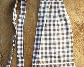 Vintage Apron | Chocolate Brown + White Gingham Apron with Ric Rack + Embroidery