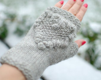 Knitted fingerless mitts Heart organic wool Winter gift - Sale of Ready to Ship eco-friendly gloves