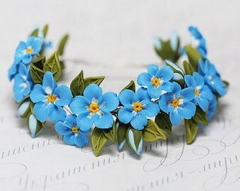 Forget me not bracelet. Blue flowers bracelet. Polymer clay jewelry. Flower wedding bracelet.  Blue Wrist Corsage. Blue bridesmaid gift