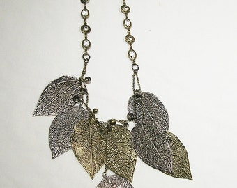 Silver and Gold Tone Dangling Pressed Leaf Necklace
