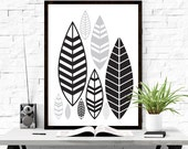 Leaf Wall Art, Black Leaf Print, Wall Art Printable, Minimalist Printable, Bohemian Art, Leaf Print, Leaf Wall Decor, Natural Wall Art