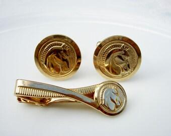 Vintage Gold Tone Pegasus Tie Clip and Cufflinks 3 Piece Set