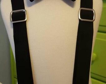 Boys Black Suspenders or Bowtie