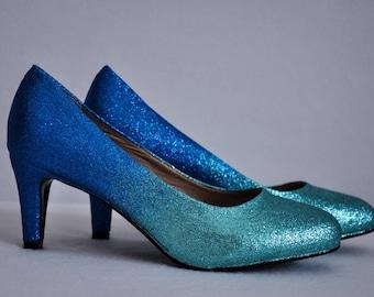 Low heels wedding low heels ombre shoes turquoise shoes blue shoes turquoise wedding shoes blue wedding shoes blue heels bridal shoes blue