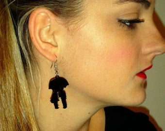 Couple Earrings, Love You to the Moon and Back Jewelry, Kissing in the Storm Earrings, Couple Silhouette Jewelry, Laser Cut Acrylic Earrings