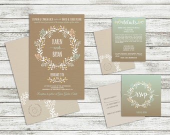 Printable Wedding Invitation Package - Rustic, Flowers, Country, Chic Invites