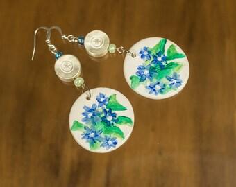 Dangle earrings  Clay flower earrings  Blue flower dangle earrings  Clay drop beads  Hand painted earrings  Blue and green earrings  gift