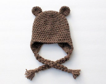 Bear Hat with Braided Tassels, Bear Costume, Halloween Costume, Baby Shower Gift, Newborn Photo Prop, New Mom Gift, Halloween Hat