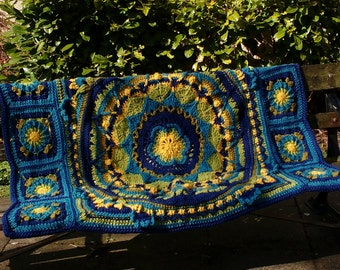 Hand Crocheted Mandala Blanket - adapted from Sophie's Universe