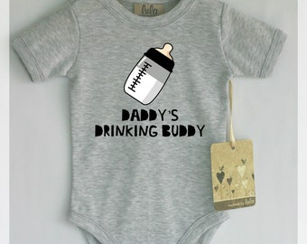 Funny baby boy clothes. Daddy's drinking buddy baby romper. Baby boy cute clothes.