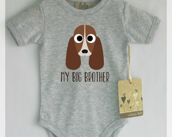 Basset hound baby clothes. Dog baby big brother or sister print. Cute dog baby clothes. With or without text.