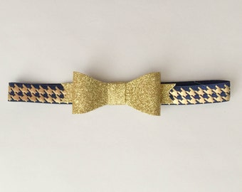 Gold Glitter Bow on Gold and Navy Blue Hounds tooth Baby Headband, Toddler Headband, Baby Bow Headband, Hounds tooth Elastic Headband