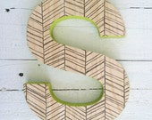 Decorative Wall Letter, Hanging Wooden Letters, Herringbone Print, Baby Name Wall Letters, Monogram Wall Decor, Wood Wall Initial