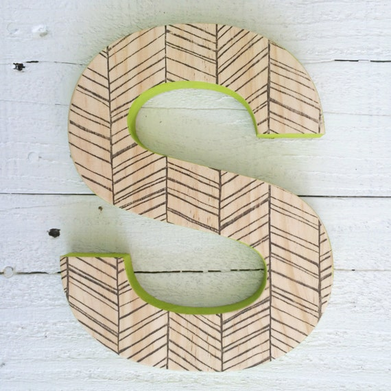 Decorative wall letter hanging wooden letters herringbone - Decorative wooden letters for walls ...