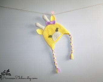 Crocheted giraffe hat, knitted baby giraffe cap, beanie for babies toddlers kids adults, unisex