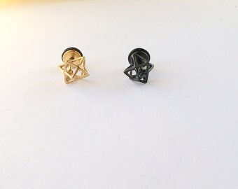 Love Knot Cartilage Tragus Earring. Triangle Cartilage Tragus Earring. 16 gauge. B1.