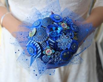 Royal blue bouquet - something blue wedding - blue bouquet - button bouquet - unique wedding bouquet - blue bouquet