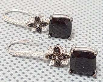 """Sterling Silver 1.1/4"""" Black Spinel and White Topaz Dangling Earring"""