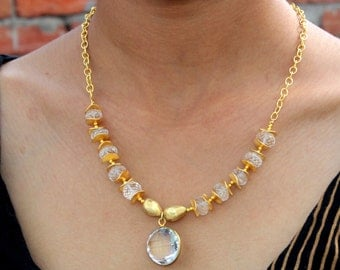 Natural Rock Crystal Quartz Necklace / Gemstone Gold Necklace / Clear Quartz Round Bezel Set Gemstone Necklace N96