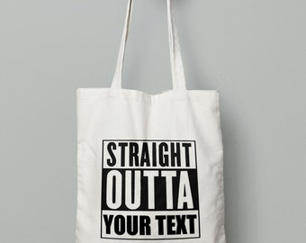 Straight Outta Personalized -Tote Bag - Canvas Tote Bag -Christmas Gifts -Market Bag -Cotton Tote Bag  Large Canvas Tote-Christmas Stockings