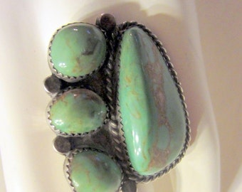 Impressive Native American, Turquoise and Sterling Ring