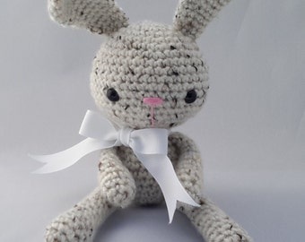Crochet bunny tweed with white bow ( Ready to ship)
