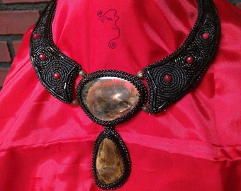 Black Rose necklace, bead and gem embroidery, hand made necklace, simbircite with flammolite and leather necklace