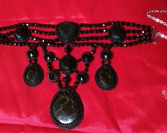 Obsidian Desert, goth Halloween evening beaded choker necklace, black bead and gem embroidery