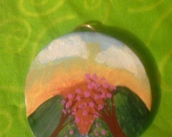 Hand Painted Cherry Blossom Mountains FIMO Pendant