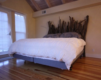 Driftwood Headboard for Twin, Full, Queen or King-sized Bed. Handmade from Reclaimed Driftwood