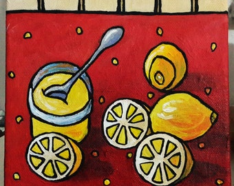 Lemon Painting, Lemon Still Life Painting, 6x6 Inches Canvas, Tiny Fruit Painting, Kitchen Art Painting