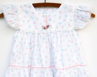 White Baby Tulip Dress, Vintage Baby Clothes, 12 Months, 1960s