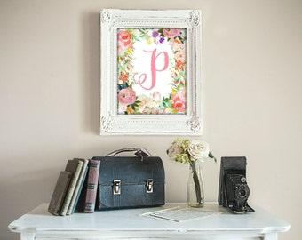 Printable, Nursery Decor, Nursery Wall Art, Nursery Prints, Nursery Art, Letters, Monogram Floral Letter, Woodland Nursery Letter P