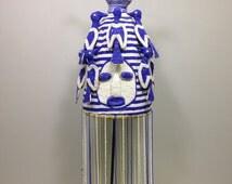 African Yoruba Beaded Crown Blue White Beaded Birds Nigeria Handmade Hand Beaded Hat Kings Adornment Statement