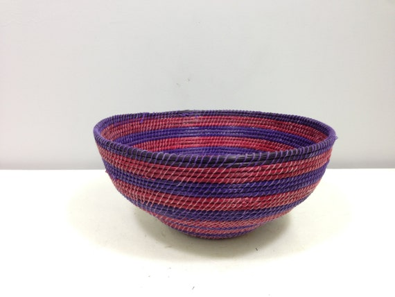 Handmade Baskets From Africa : African basket lesotho purple red blue woven south africa