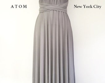 Silver Light Grey LONG Maxi Infinity Dress Gown Convertible Formal Multiway Wrap Dress Bridesmaid Dress Evening Dress Toga Dress